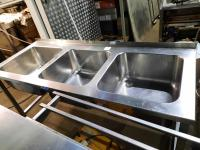 Ванна моечная 3х секц. 1800*700 мм с бортом (мо 500*500*300 мм) БУ